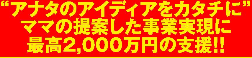 """""""アナタのアイディアをカタチに""""ママの提案した事業実現に最高2,000万円の支援"""